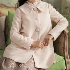 GU ZHI - Wool Blend Embroidered Buttoned Coat