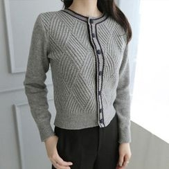 Hello sweety - Contrast-Trim Patterned Cardigan