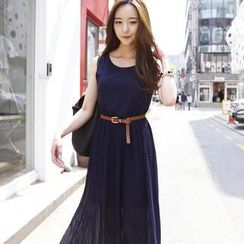 REDOPIN - Set: Sleeveless Pleated Maxi Dress + Belt