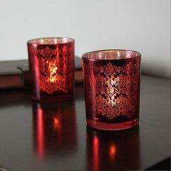 Thula Design - Patterned Glass Candle Holder with Electric Candle