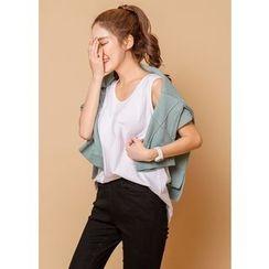 J-ANN - Sleeveless Slit-Hem Cotton Top