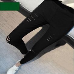 YAYAGREEN - Ripped High-Waist Skinny Pants