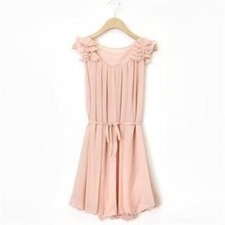 lovs - Sleeveless Frilled-Shoulder Pleated-Accent Chiffon Dress