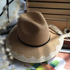 EVEN - Lace Trim Straw Hat