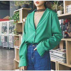 Tiny Times - 套裝: 網紗上衣 + 純色平駁領襯衫