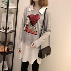 Dream Girl - Cartoon Sequined Chiffon Panel Collared Sweater