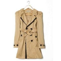 Flower Idea - Tie-Waist Double-Breasted Trench Coat