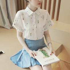 沐乃衣 - 印花短袖雪紡襯衫