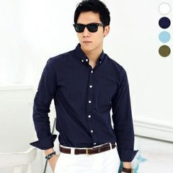 JBROS - Long-Sleeve Buttoned-Collar Shirt