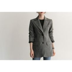 UPTOWNHOLIC - Wool Blend Herringbone Jacket