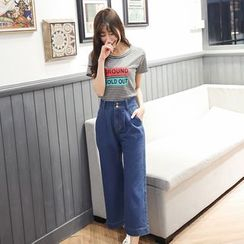 Angel Shine - Cropped Wide Leg Jeans