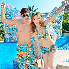 Sunset Hours - Couple Matching Floral Print Bikini / Swim Shorts