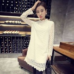 Supernova - Lace Mock Neck Long-Sleeve Dress