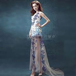 Angel Bridal - Embroidered Sleeveless Trained Sheath Evening Gown