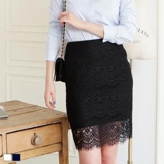 MAGJAY - Lace Layered Pencil Skirt