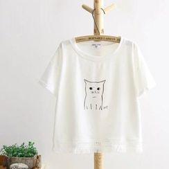 Storyteller - Cat Printed Short-Sleeve T-shirt