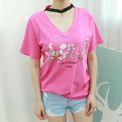 Dodostyle - Inset Choker Floral Print V-Neck T-Shirt
