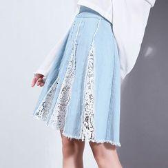 Sonne - Crochet-Panel Denim A-Line Skirt