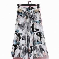 Flower Idea - Printed Tiered Long Skirt