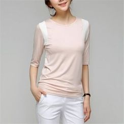 MAGJAY - Elbow-Sleeve Contrast-Trim T-Shirt