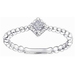 MaBelle - 18K White Gold Princess Cut Diamond Square Milgrain Band Stackable Engagement Wedding Ring (0.07ct)