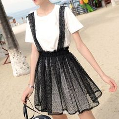 mishow - Set: Short-Sleeve T-Shirt + Lace Suspender Skirt