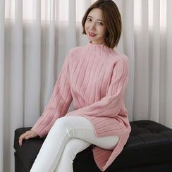 Seoul Fashion - Mock-Neck Rib-Knit Sweater