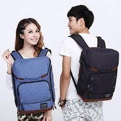 Mr.ace Homme - Contrast-Trim Canvas Couple Backpack