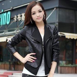 Flower Idea - Faux-Leather Biker Jacket