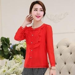 Romantica - Lace-Trim Ruffled Chiffon Shirt