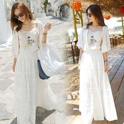 Furuto - Set: Light Jacket + Embroidered Tiered Sundress