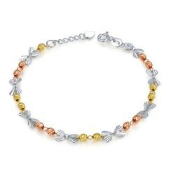 MaBelle - 14K Yellow, Rose And White Gold Heart and Beads Bracelet (17.5cm)