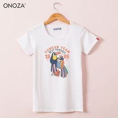 Onoza - Short-Sleeve Bird-Print T-Shirt