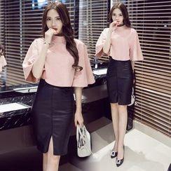Clospace - Set: Faux Suede Elbow-Sleeve Top + Faux Leather Pencil Skirt