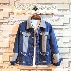 Sundipy - Stitched Panel Denim Jacket