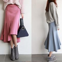 NIPONJJUYA - Asymmetric-Hem Midi Flare Skirt