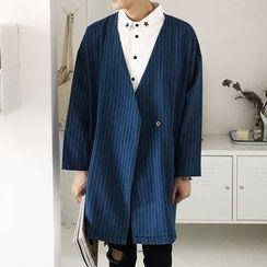 Arthur Look - 细条纹按扣无领棉质外套