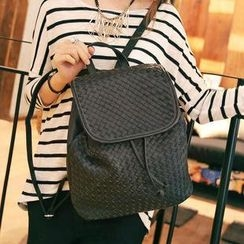 Youshine - Faux Leather Woven Backpack