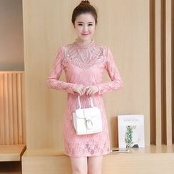 lilygirl - 實拍韓版女裝修身鑲鑽上中長加絨蕾絲打底裙潮