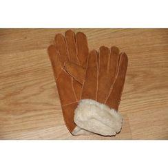 Fow Fow - Genuine Leather Fluffy Trim Gloves