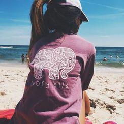 Kasumi - Elephant Print Long-Sleeve T-Shirt