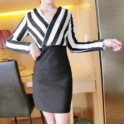Neon Nite - Striped V-Neck Sheath Dress