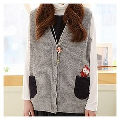 Sechuna - Sleeveless Owl-Patched Cardigan