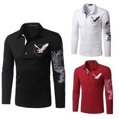 Fireon - Eagle Print Long Sleeve Polo Shirt