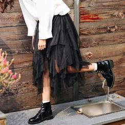Suyisoda - 网纱不对称中长裙