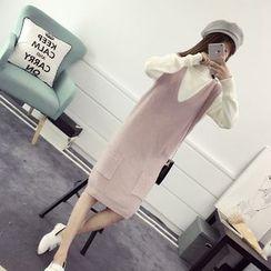 efolin - Dual Pocket Knit Pinafore Dress