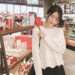 mimi&didi - Raglan-Sleeve Scallop-Hem Sweater