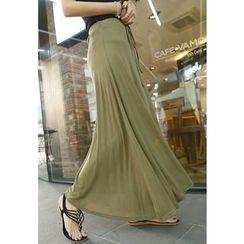 REDOPIN - Band-Waist A-Line Maxi Skirt