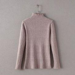 Blue Rose - Mock Neck Long-Sleeve Knit Top