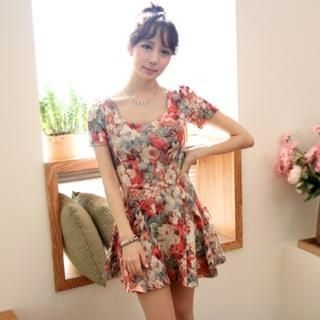 byseeu - Short-Sleeve Floral Patterned A-Line Dress